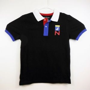 NWOT Boys Nautica Color Block Patch Polo Shirt -M